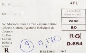 Código postal de Bolivia, Códigos postales Bolivia